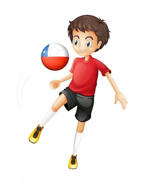 チリのボールを使用している少年 無料ベクター