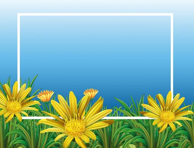 花畑と枠線テンプレート 無料ベクター
