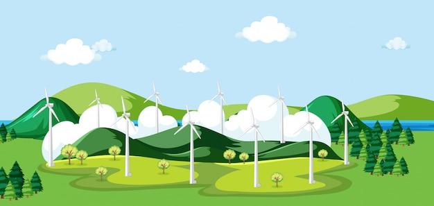 フィールドでの風車のあるシーン 無料ベクター