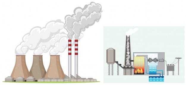 Заводской дымоход производит дым Бесплатные векторы
