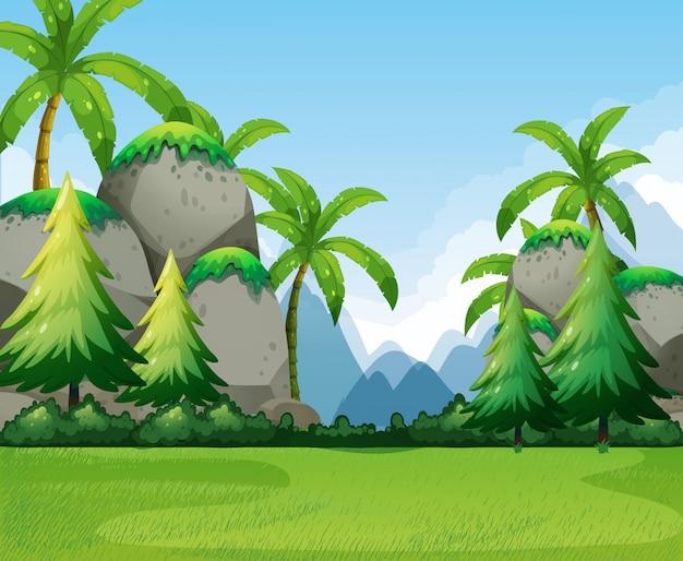 山と木と自然の風景 無料ベクター