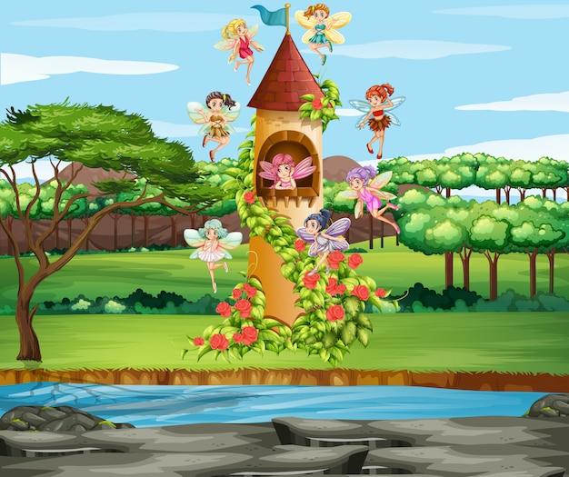庭を飛んでいる妖精のシーン 無料ベクター
