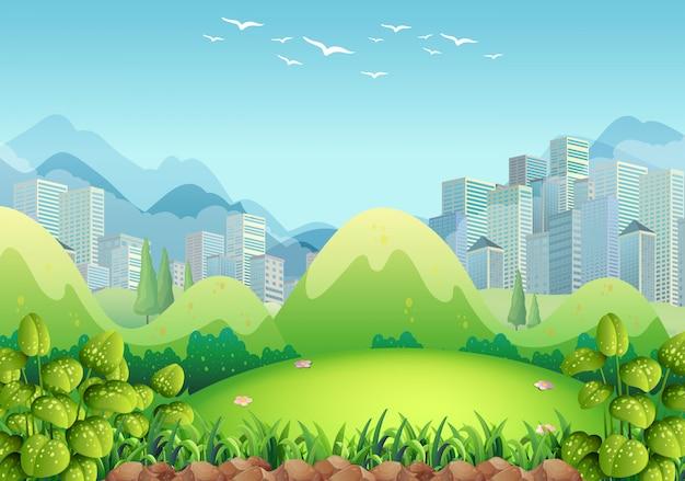 Природа сцена со зданиями Бесплатные векторы