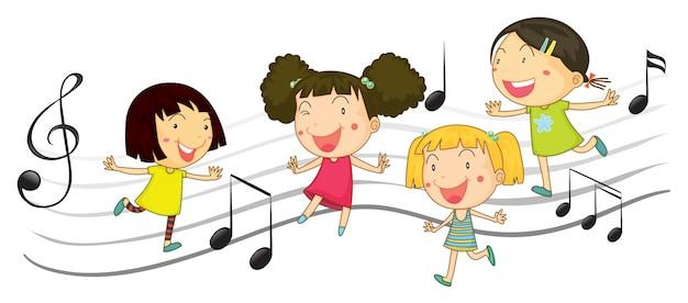 Счастливые дети, танцующие с нотами в фоновом режиме | Премиум векторы