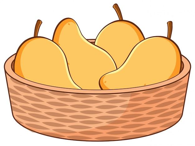 マンゴーのバスケット Premiumベクター