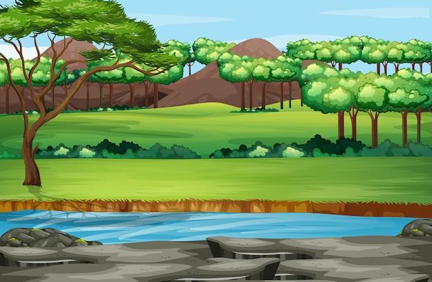 公園内の木が多いシーン 無料ベクター