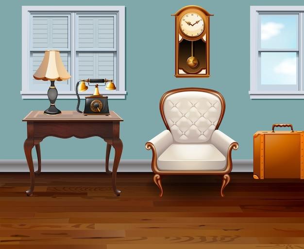 ビンテージ家具でいっぱいの部屋 無料ベクター