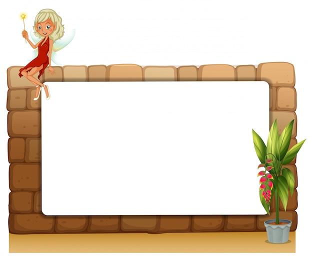 妖精と植物の鉢の壁にある空白板 無料ベクター