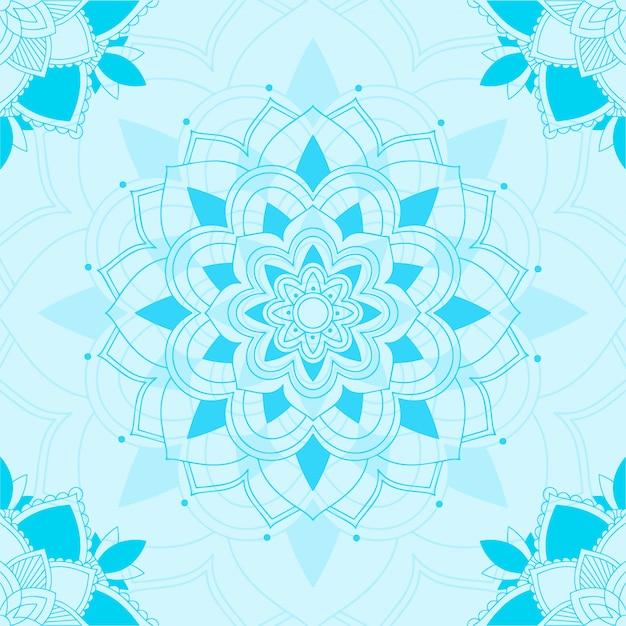 青のマンダラのシームレスパターン 無料ベクター
