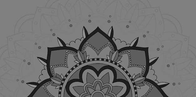 灰色の背景にマンダラデザイン 無料ベクター