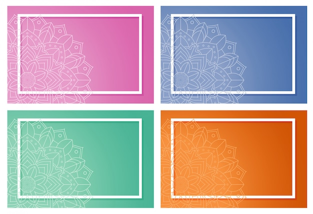 Четыре фона с дизайном мандалы Бесплатные векторы