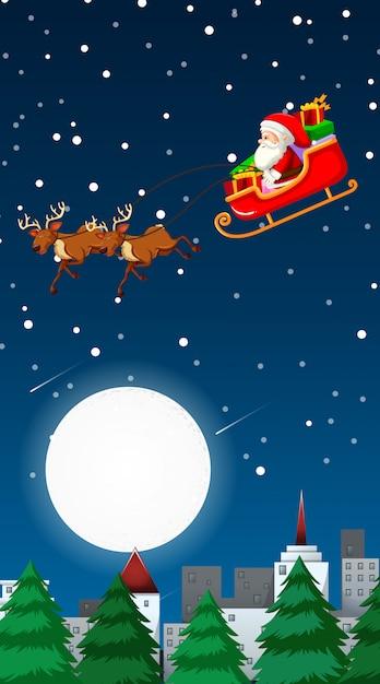 Рождественская тема иллюстрация с санта-клаусом пролетел над городом Бесплатные векторы