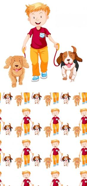Бесшовный фон с мальчиком и двумя собаками Бесплатные векторы