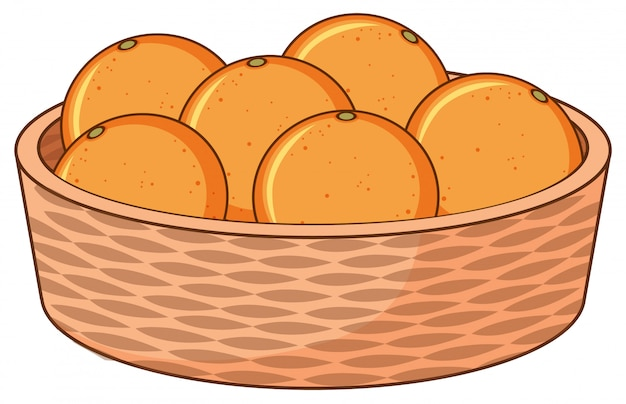 Корзина с апельсинами на белом Бесплатные векторы