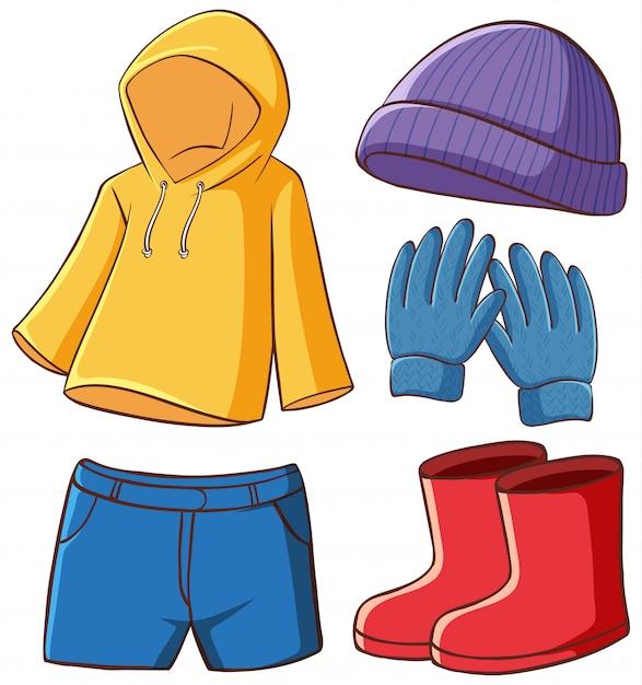 Изолированный комплект одежды Бесплатные векторы
