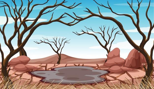泥の池と乾燥した木のあるシーン 無料ベクター