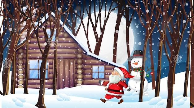 雪の夜のサンタと雪だるまのシーン 無料ベクター
