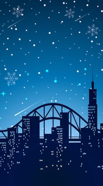 夜の街と背景シーン 無料ベクター