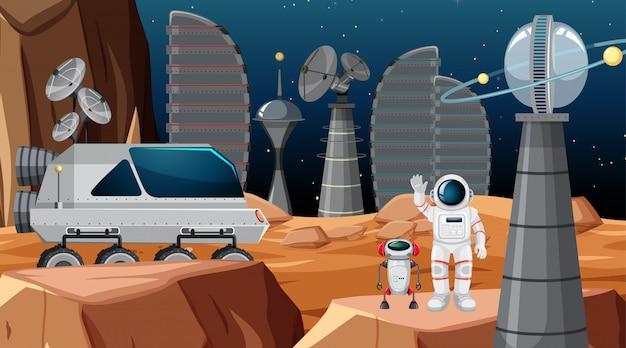 Астронавт в космической сцене Бесплатные векторы