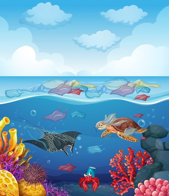 海の動物と海のゴミのシーン 無料ベクター