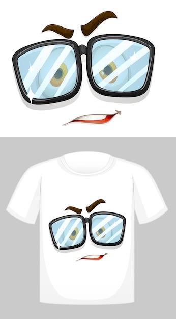 Дизайн футболки с изображением лица в очках Бесплатные векторы