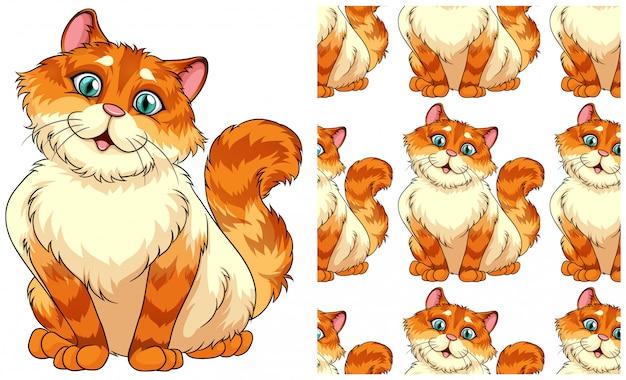 Бесшовные кошка на белом Бесплатные векторы