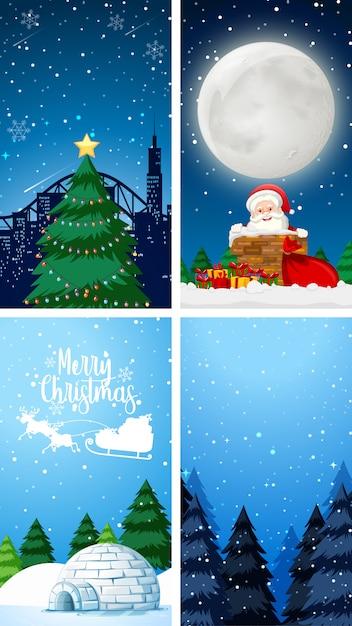 Фоновые шаблоны с рождественской темой Бесплатные векторы