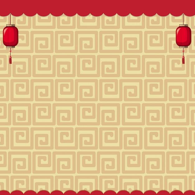 Дизайн фона с коричневыми китайскими узорами Бесплатные векторы