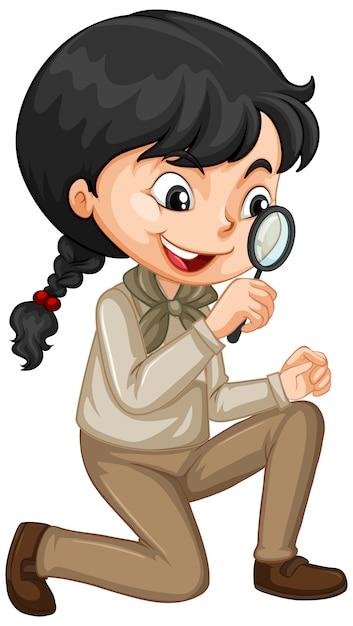 Девушка с увеличительным стеклом Premium векторы
