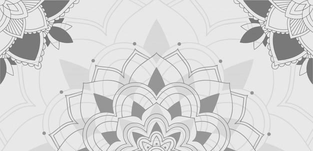 灰色のマンダラの背景パターン 無料ベクター