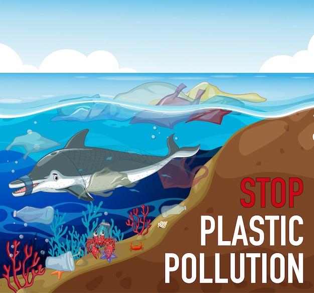 イルカと海のゴミのポスターデザイン 無料ベクター