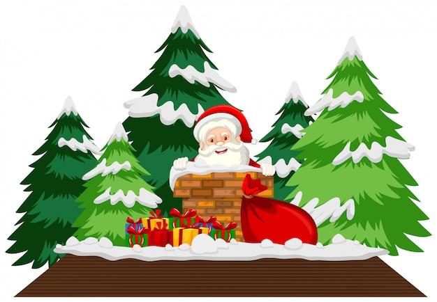Рождественская тема с дедом морозом на крыше Бесплатные векторы