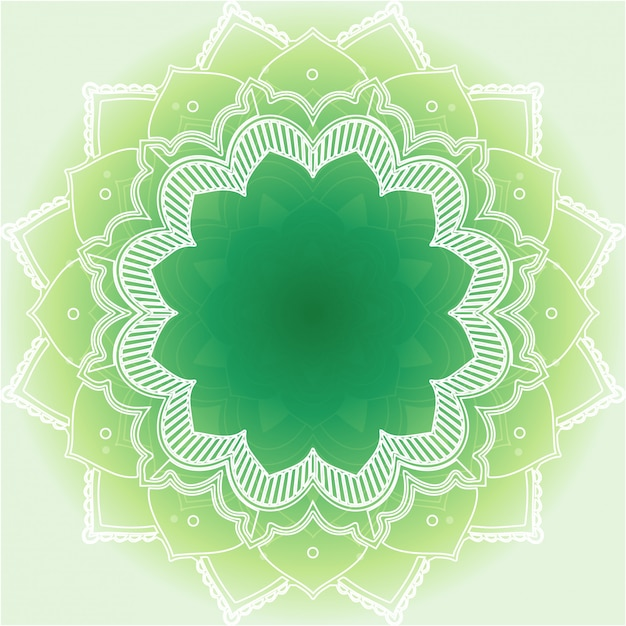 緑の背景にマンダラデザイン 無料ベクター