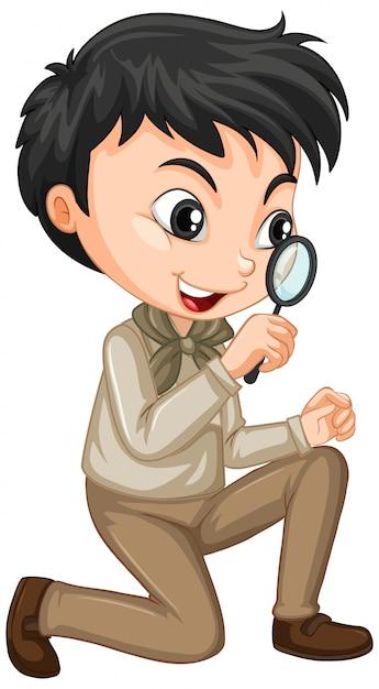Мальчик в наряд сафари Бесплатные векторы