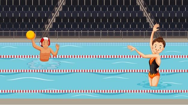 プールでウォータースポーツをしている人々とのシーン Premiumベクター