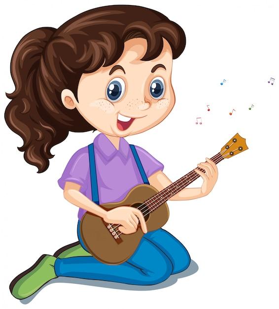 ギターを持つ少女 無料ベクター