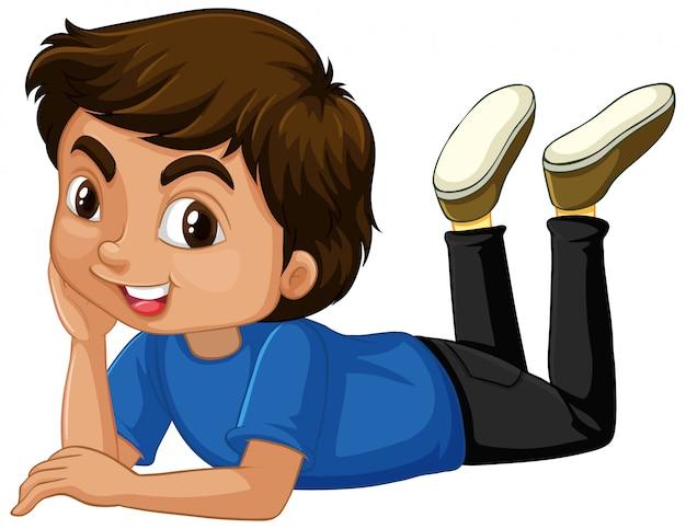 Милый мальчик в синей рубашке Бесплатные векторы