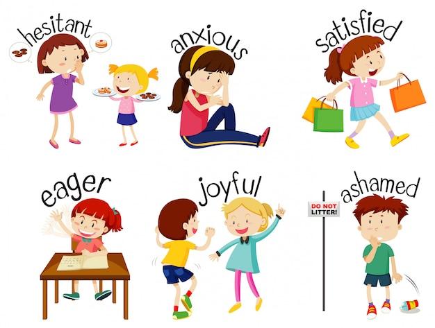 Набор прилагательных слов с детьми, выражающими свои чувства Бесплатные векторы