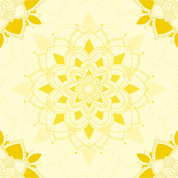 黄色の背景にマンダラデザイン 無料ベクター