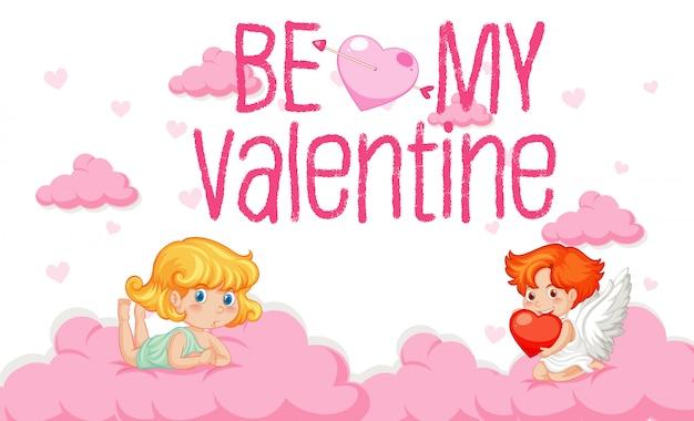 空を飛んでいるキューピッドとバレンタインのテーマ 無料ベクター