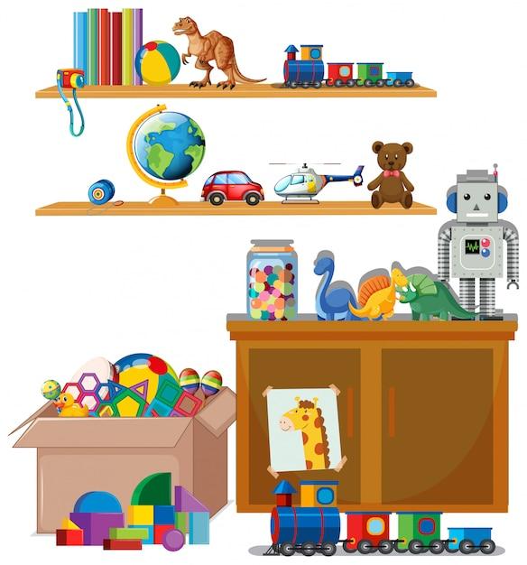 Сцена с множеством игрушек на полках Бесплатные векторы