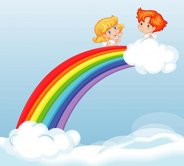 美しい虹の図で空を飛んでいるかわいい妖精 無料ベクター