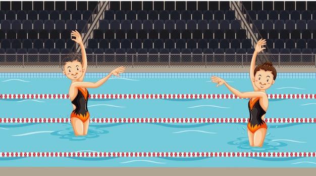 プールで水同期ダンスをしている女の子とのシーン 無料ベクター