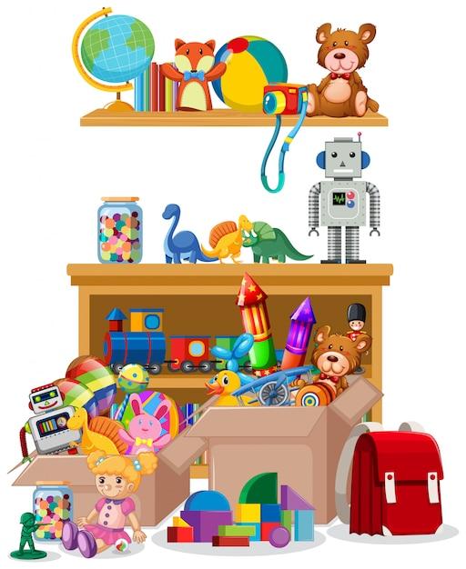 Полка и ящики с игрушками Бесплатные векторы