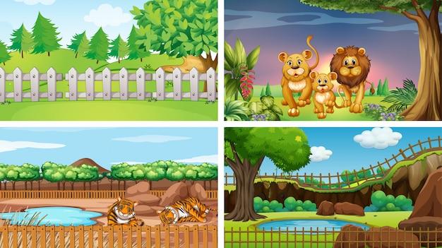 Четыре сцены с дикими животными Бесплатные векторы