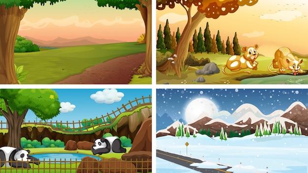 Четыре сцены природы со многими животными Бесплатные векторы