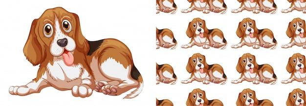 シームレスで孤立した動物パターン漫画 無料ベクター