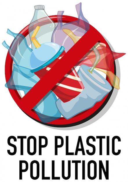 プラスチックのないポスターデザイン Premiumベクター