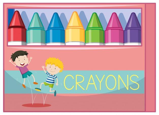 Коробка с цветными карандашами Бесплатные векторы