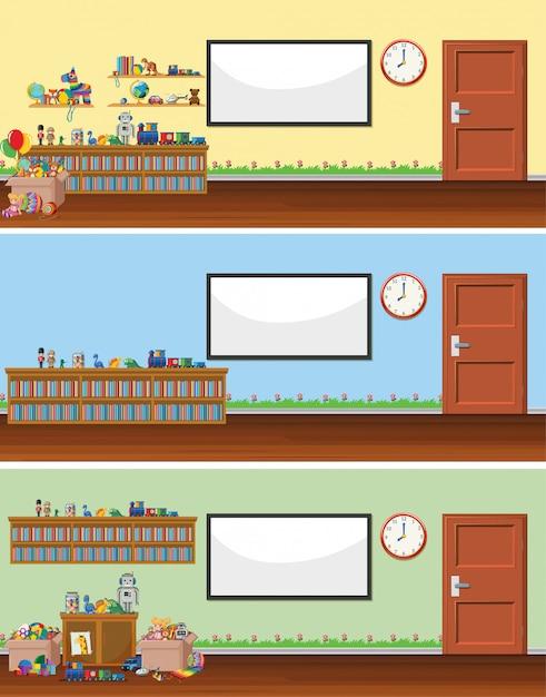 Сцена с доской и игрушками Бесплатные векторы